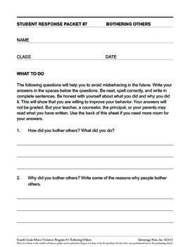 4th Grade Behavior Improvement Packet: Bothering Others