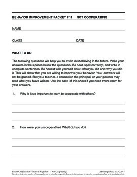 4th Grade Behavior Improvement Packet: Cooperation