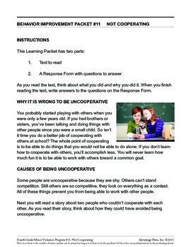 4th Grade Behavior Improvement Packet: Cooperation