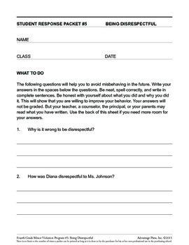 4th Grade Behavior Improvement Packet: Disrespect