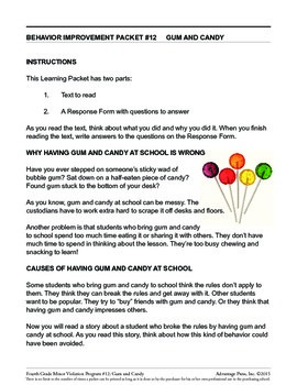 4th Grade Behavior Improvement Packet: Gum and Candy