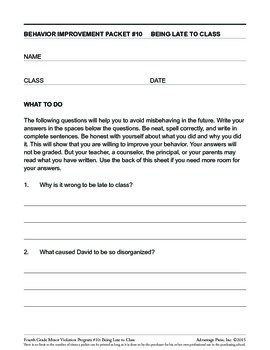 4th Grade Behavior Improvement Packet: Late