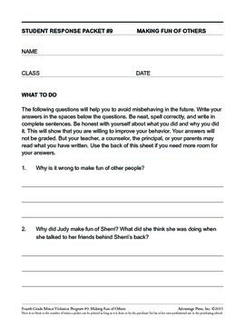 4th Grade Behavior Improvement Packet: Making Fun of Others