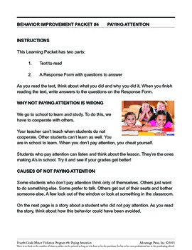 4th Grade Behavior Improvement Packet: Pay Attention