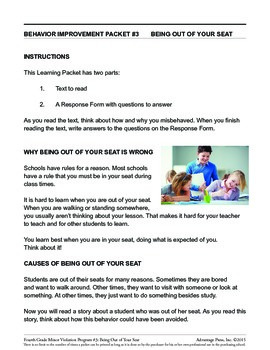 4th Grade Behavior Improvement Packet: Stay in Seat