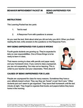 4th Grade Behavior Improvement Packet: Unprepared