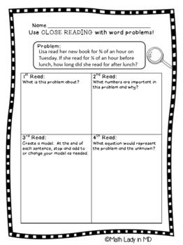 4th Grade Bundle: Close Reading in Math