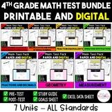 4th Grade Digital and Printable Math Test Bundle - Distanc