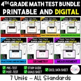 4th Grade Digital and Printable Math Test Bundle - Distanc