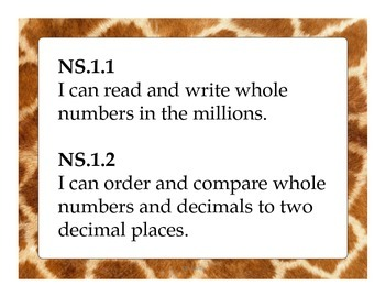 4th Grade CC Math for California - Student Friendly I Can Statements