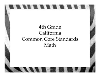 4th Grade CC Math for California - Student Friendly I Can