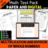 Multiplication and Division of Whole Numbers Math Test Bundle {4th Grade Unit 2}