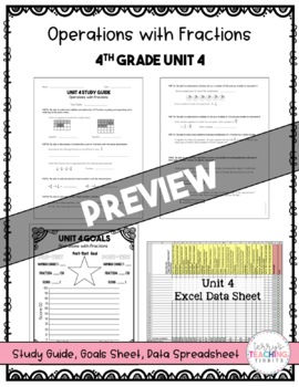 Operations with Fractions Test Pack *4th Grade* {Unit 4}