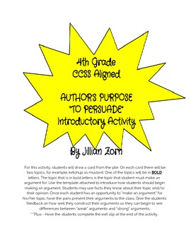 4th Grade CCSS ALIGNED Author's Purpose - Persuade, Construct An Argument, F&O