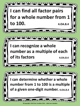 4th Grade CCSS Aligned I Can Statements-Math