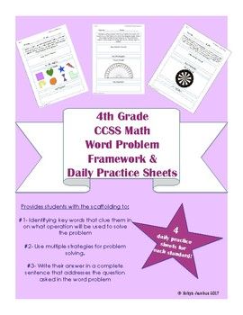 4th Grade CCSS Aligned Word Problem Solving Framework and Practice Sheets