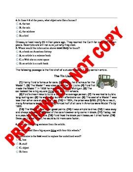 4th Grade CCSS Benchmark ELA Assessment