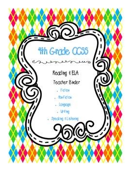 4th Grade ELA CCSS Binder Covers