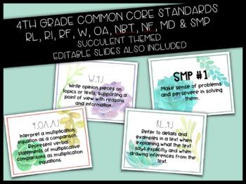 4th Grade CCSS Cards Succulent Theme