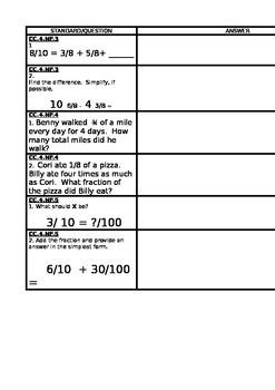 4th Grade CCSS Checklist