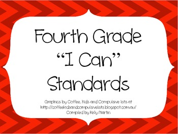 4th Grade CCSS ELA I Can Standards