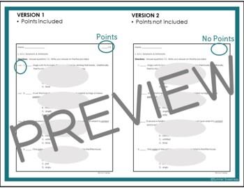 4th Grade CCSS ELA L 5c and L1g assessment