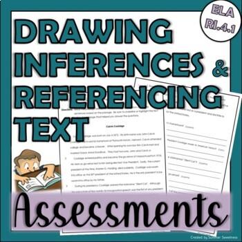 4th Grade CCSS ELA RI 4.1 Assessment