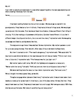 4th Grade CCSS ELA RL.4.1 Assessment
