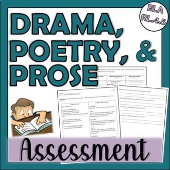 4th Grade CCSS ELA RL.4.5 Assessment