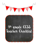 4th Grade CCSS ELA Teacher Checklist