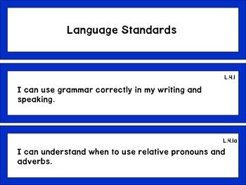 """4th Grade CCSS """"I Can"""" Statements: ELA"""