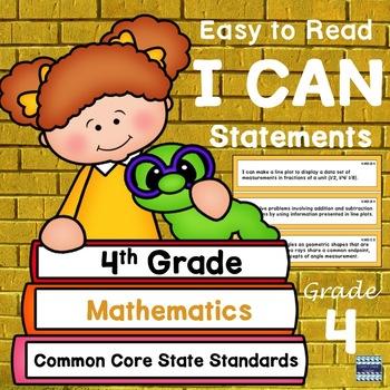 "4th Grade CCSS ""I Can"" Statements: Mathematics"