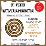"4th Grade CCSS ""I Can"" Statements for Reading ALL"
