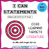 "4th Grade CCSS ""I Can"" Statements for Reading Literature"