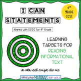 "4th Grade CCSS ""I Can"" Statements for Reading Nonfiction"