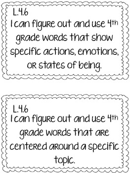 4th Grade CCSS Language I Can Statements