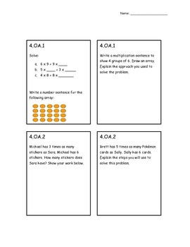 4th Grade CCSS Math Assessment by Standard- Content and Process Questions