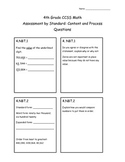 4th Grade CCSS Math Assessment by Standard- Content and Pr