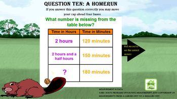 4th Grade CCSS Math Baseball Game + Written Response Questions Promethean Chart