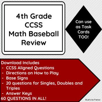 4th Grade CCSS Math Baseball or Task Cards