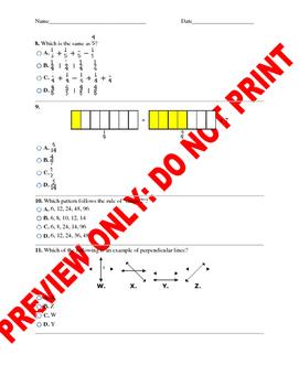 4th Grade CCSS Math Benchmark Assessment
