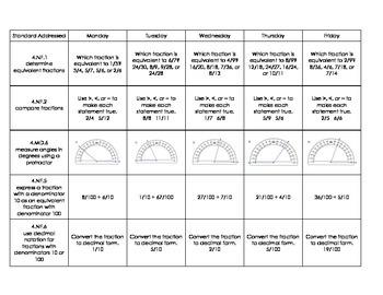 4th Grade CCSS Math Homework Pack