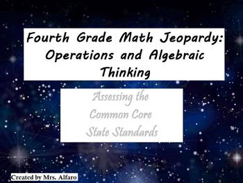 4th Grade CCSS Math Jeopardy Game/Flipchart PATTERNS; WORD PROBLEMS; FACTORS +