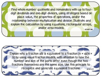 4th Grade CCSS Math Standards {Special Order Blue/Green}