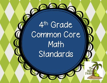 4th Grade CCSS Math Standards {Special Order Blue/Green}