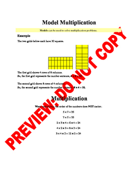 4th Grade CCSS Multiplication Assessment & Guided Notes