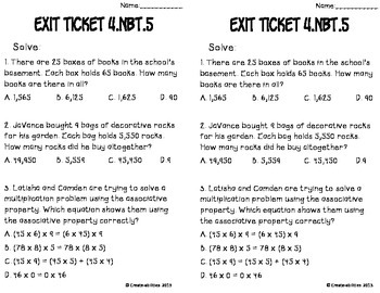 Multiplication Up to Four Digits Math Tasks and Exit Tickets