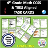 4th Grade CCSS/TEKS Aligned FRACTIONS | 40 Cards | Task Cards | Digital Access