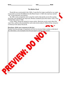 4th Grade CCSS Text Structure Assessment Bank RI.4.5