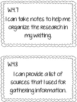 4th Grade CCSS Writing I Can Statements